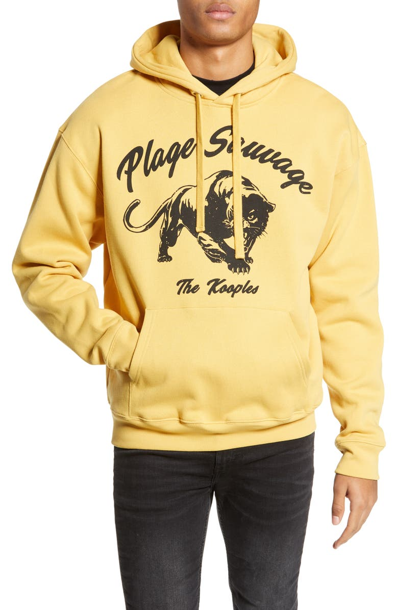 THE KOOPLES Plage Sauvage Panther Hooded Sweatshirt, Main, color, YELLOW