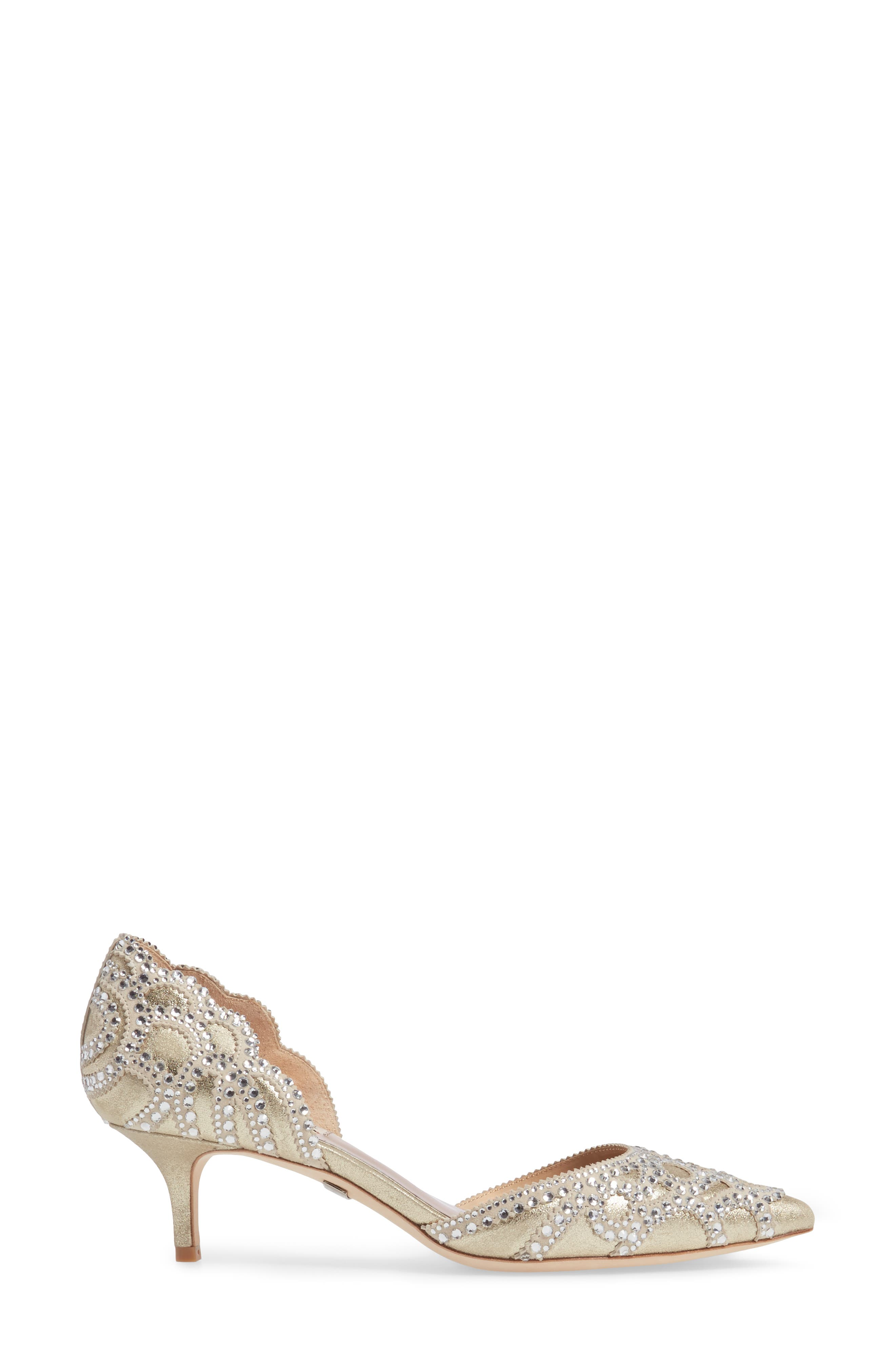 ,                             Badgley Mischka 'Ginny' Embellished d'Orsay Pump,                             Alternate thumbnail 3, color,                             PLATINO METALLIC SUEDE