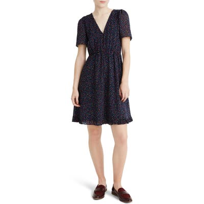 Madewell Sugar Dot Flutter Sleeve Dress, Blue