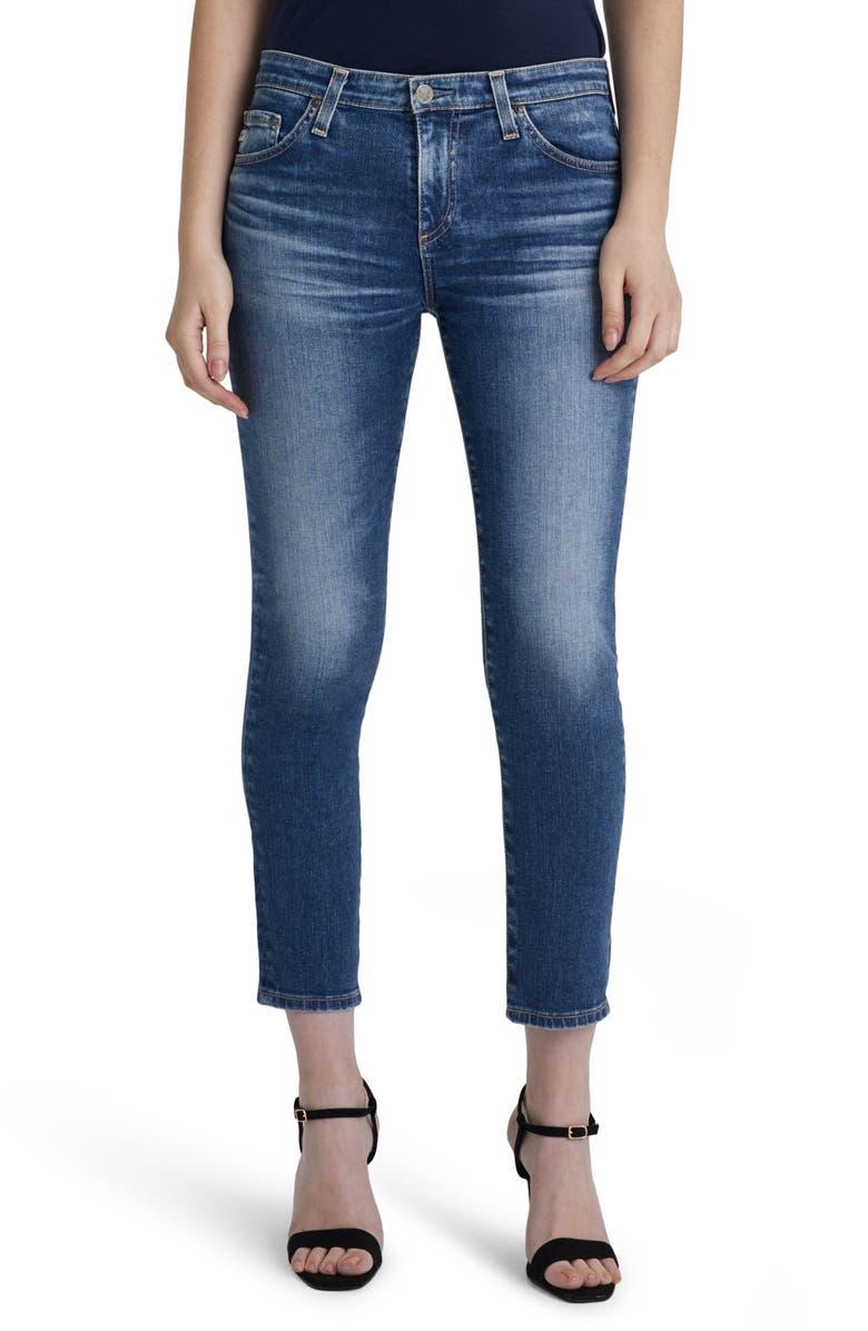 AG Prima Mid Rise Distressed Crop Cigarette Jeans, Main, color, 10 YEARS MILLENNIUM
