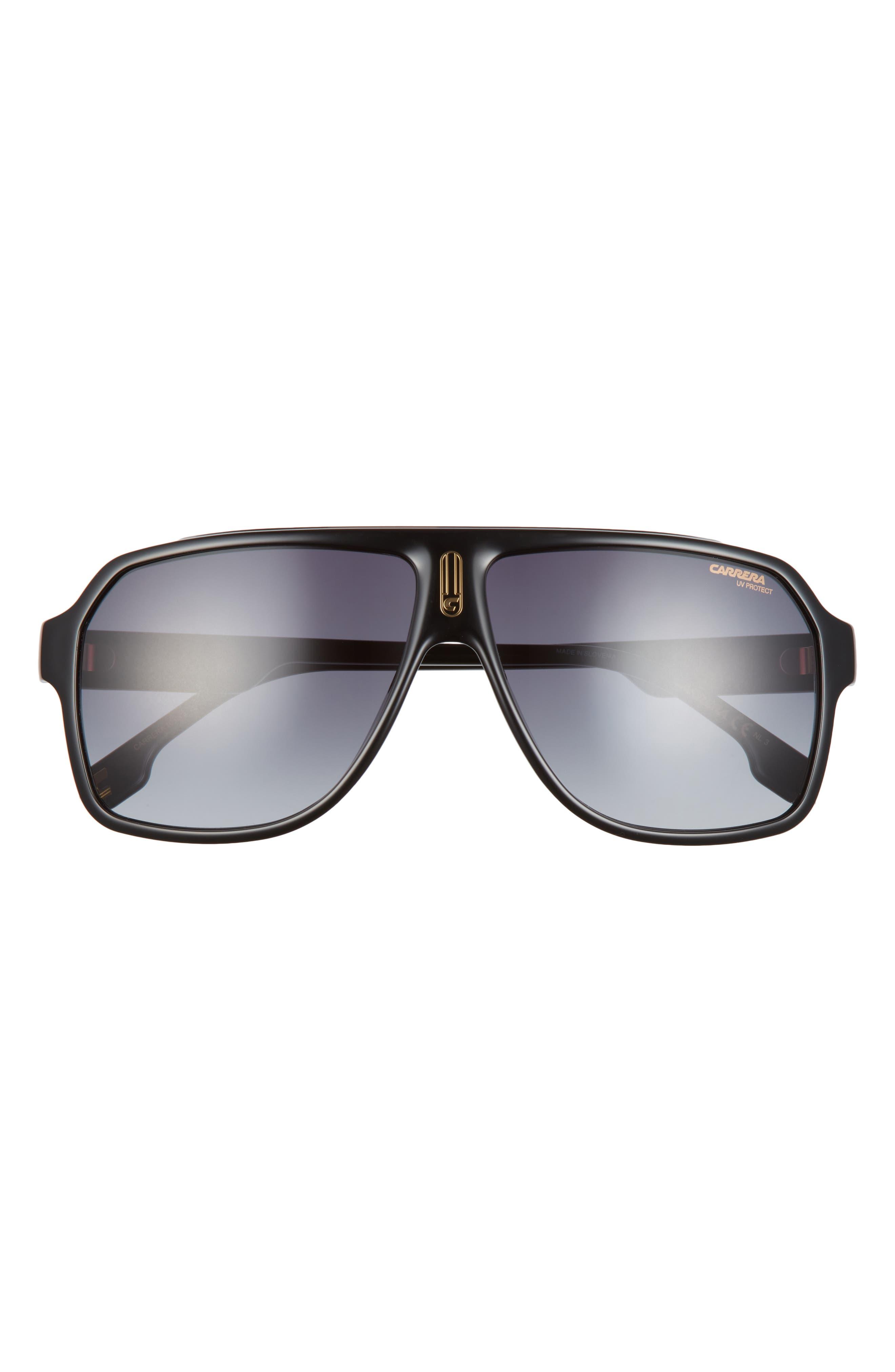 62mm Oversize Rectangle Aviator Sunglasses