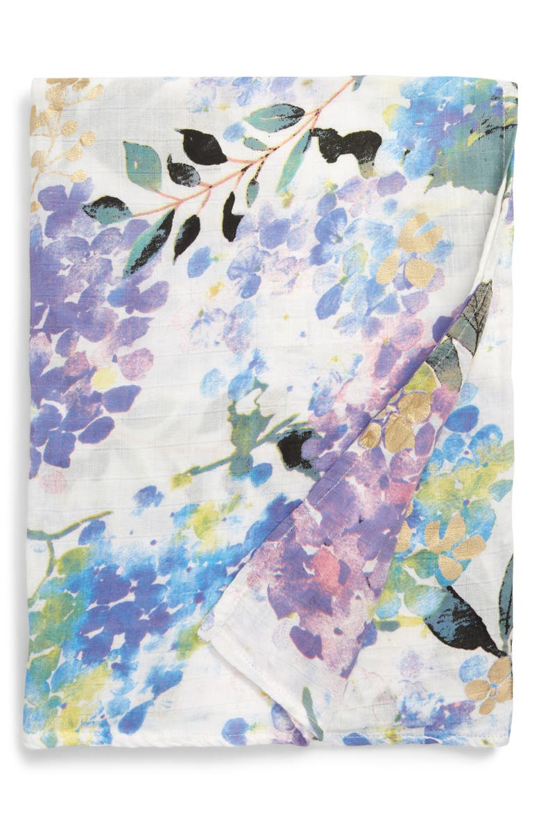 LOULOU LOLLIPOP Hydrangea Deluxe Muslin Swaddle Blanket, Main, color, HYDRANGEA