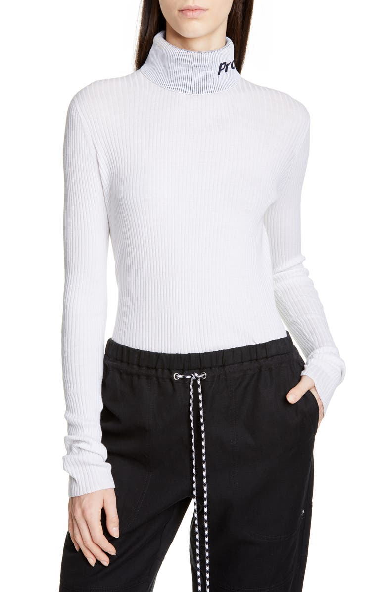 PROENZA SCHOULER WHITE LABEL Proenza Schouler PSWL Knit Turtleneck, Main, color, OFF WHITE COMBO