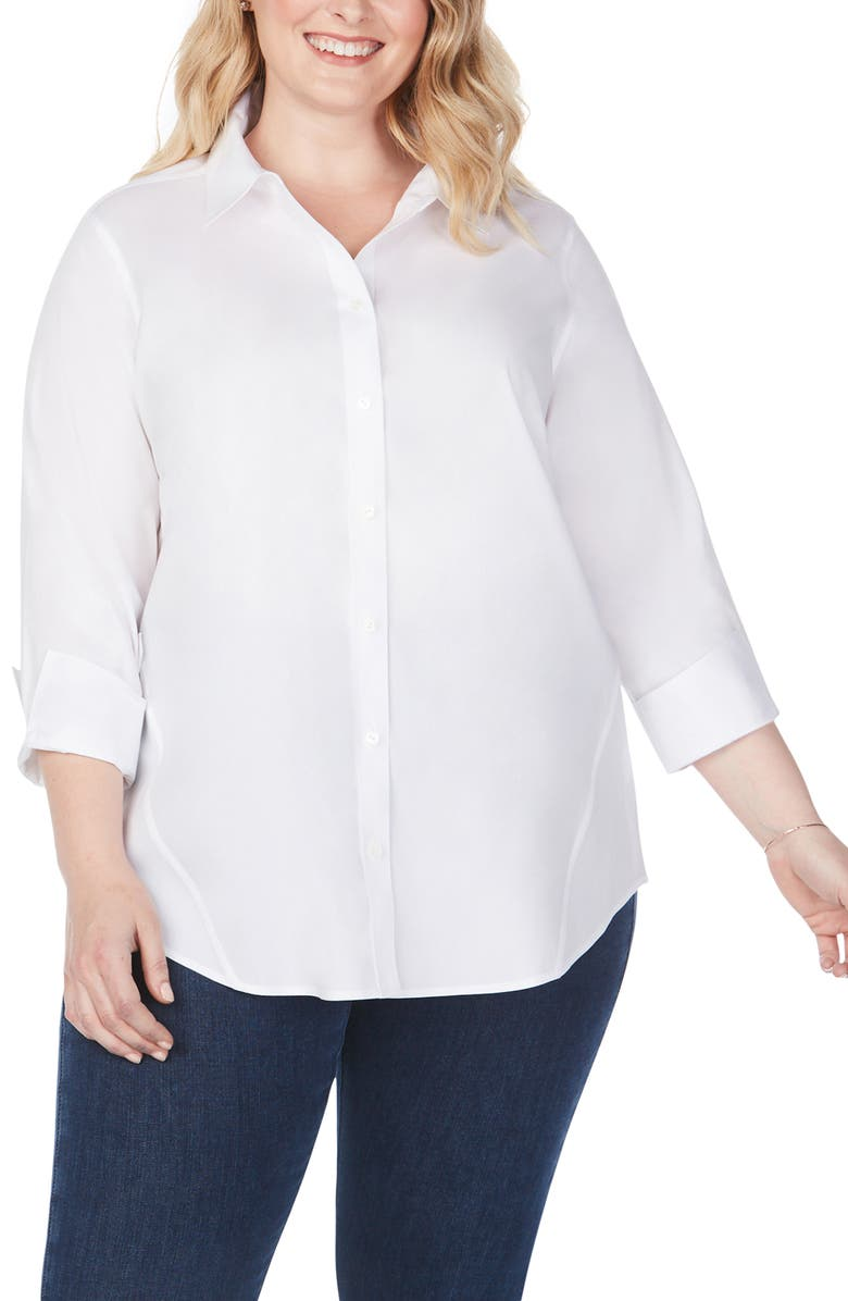 FOXCROFT Marianne Stretch Tunic Shirt, Main, color, WHITE