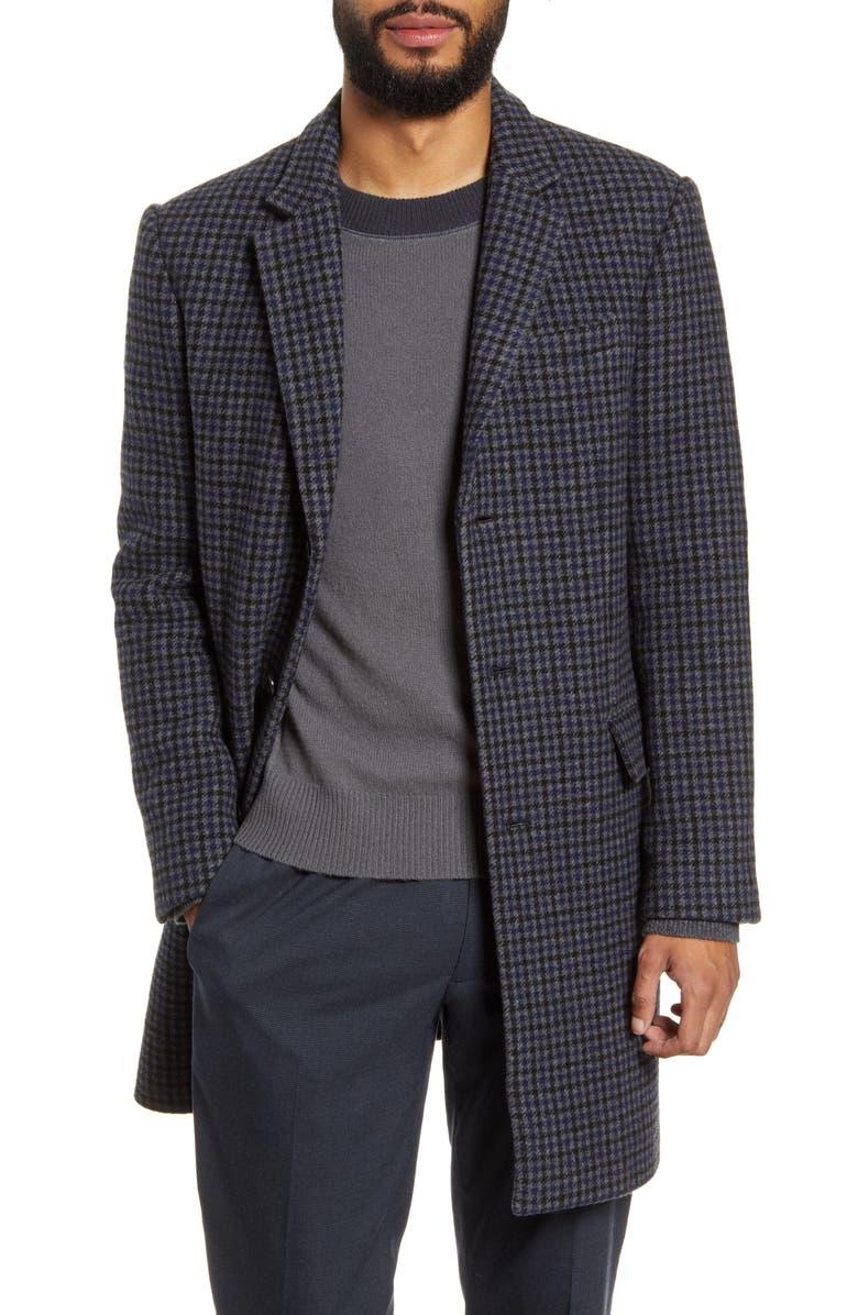 CLUB MONACO Slim Fit Plaid Wool Blend Topcoat, Main, color, 020