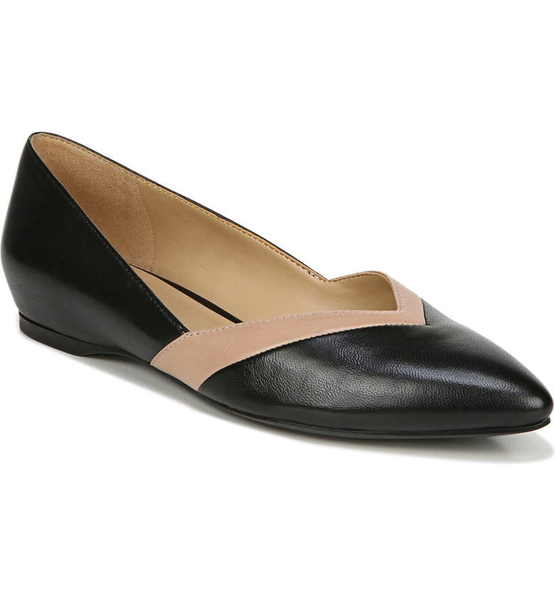 NATURALIZER Sandara Flat, Main, color, BLACK/ NUDE LEATHER