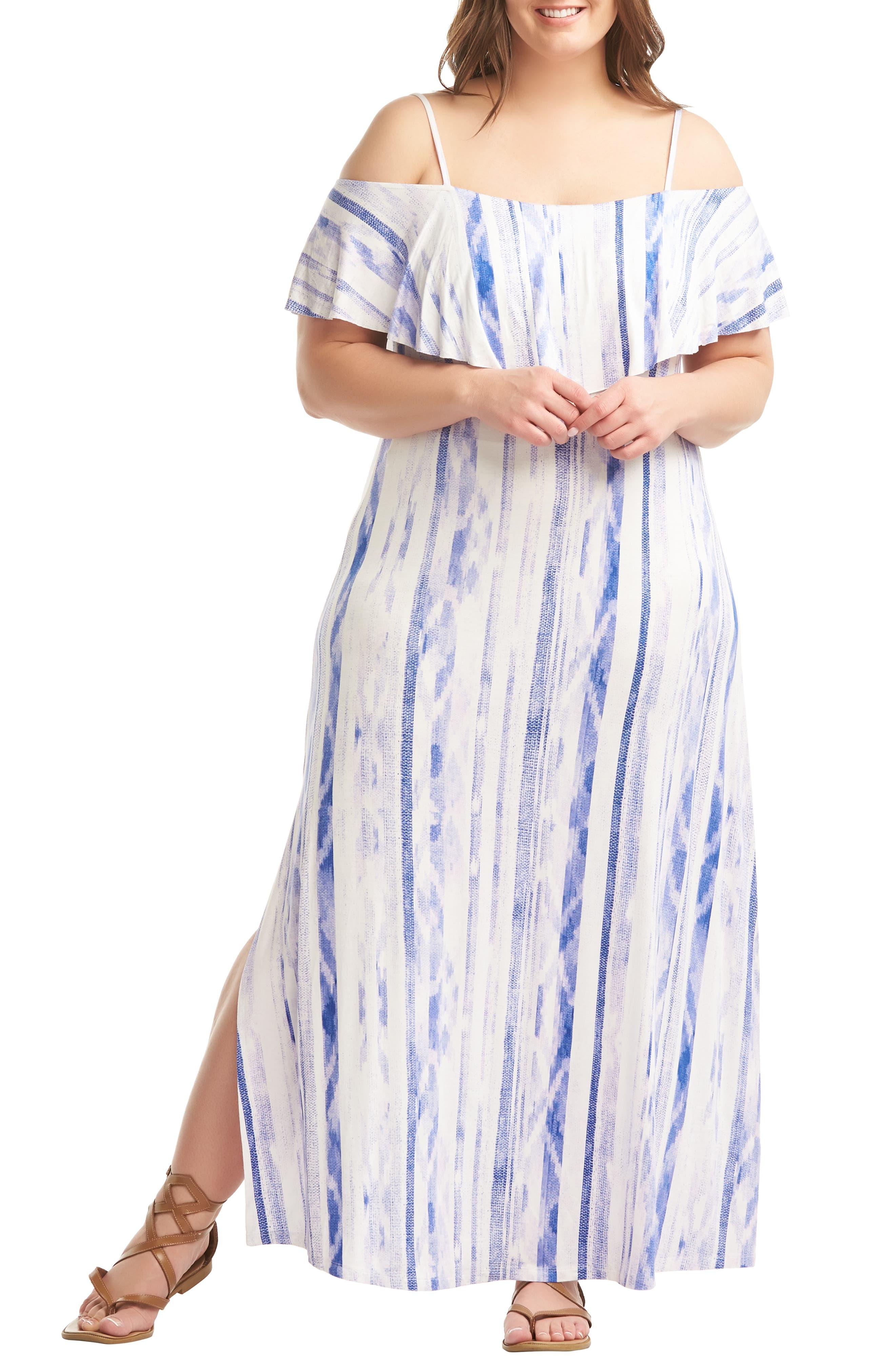 Plus Size Lemon Tart Tacita Maxi Dress, White