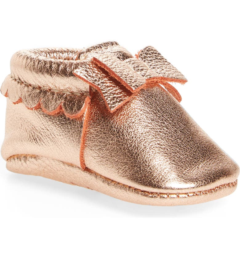 FRESHLY PICKED Metallic Bow Moccasin, Main, color, ROSE GOLD