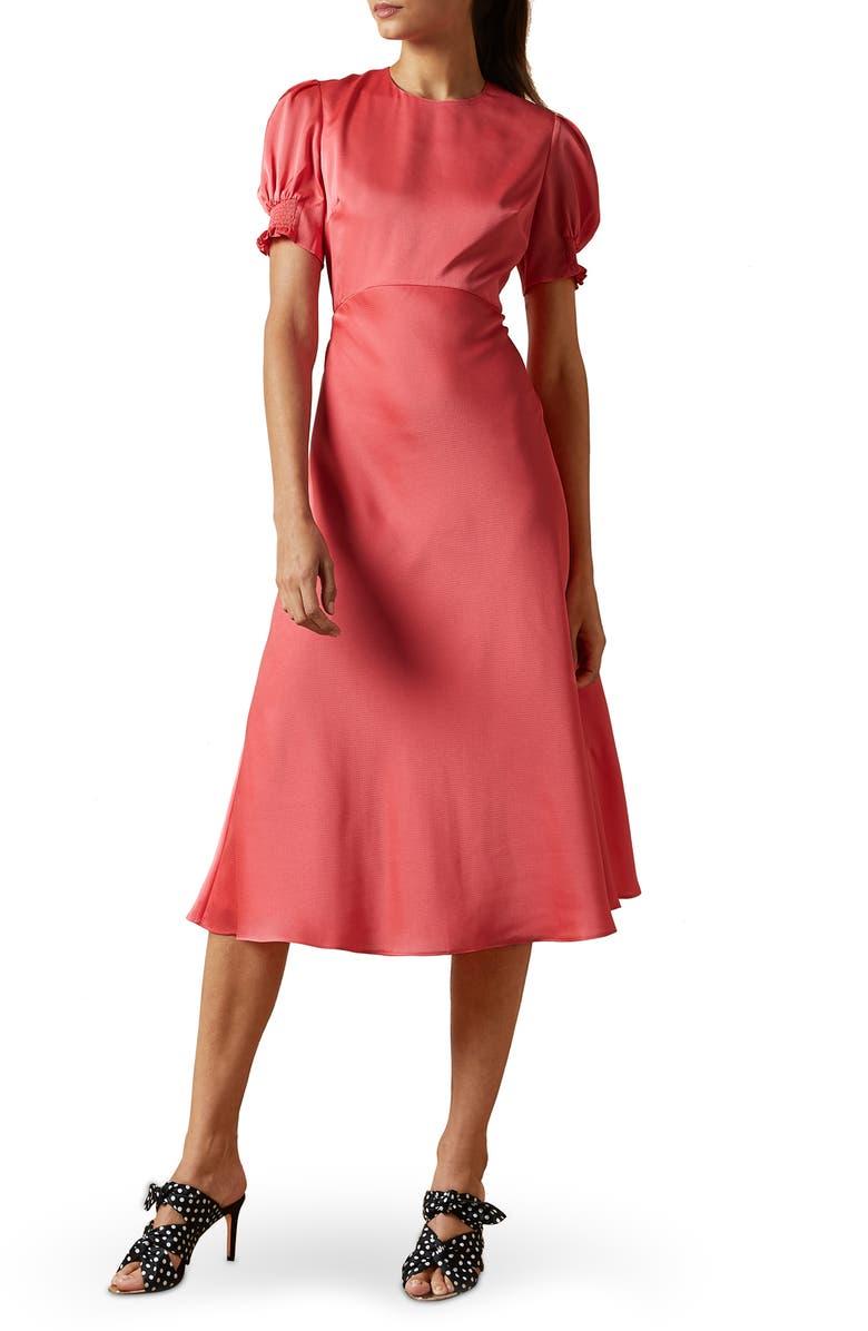 TED BAKER LONDON Blaer Bias Midi Dress, Main, color, PINK
