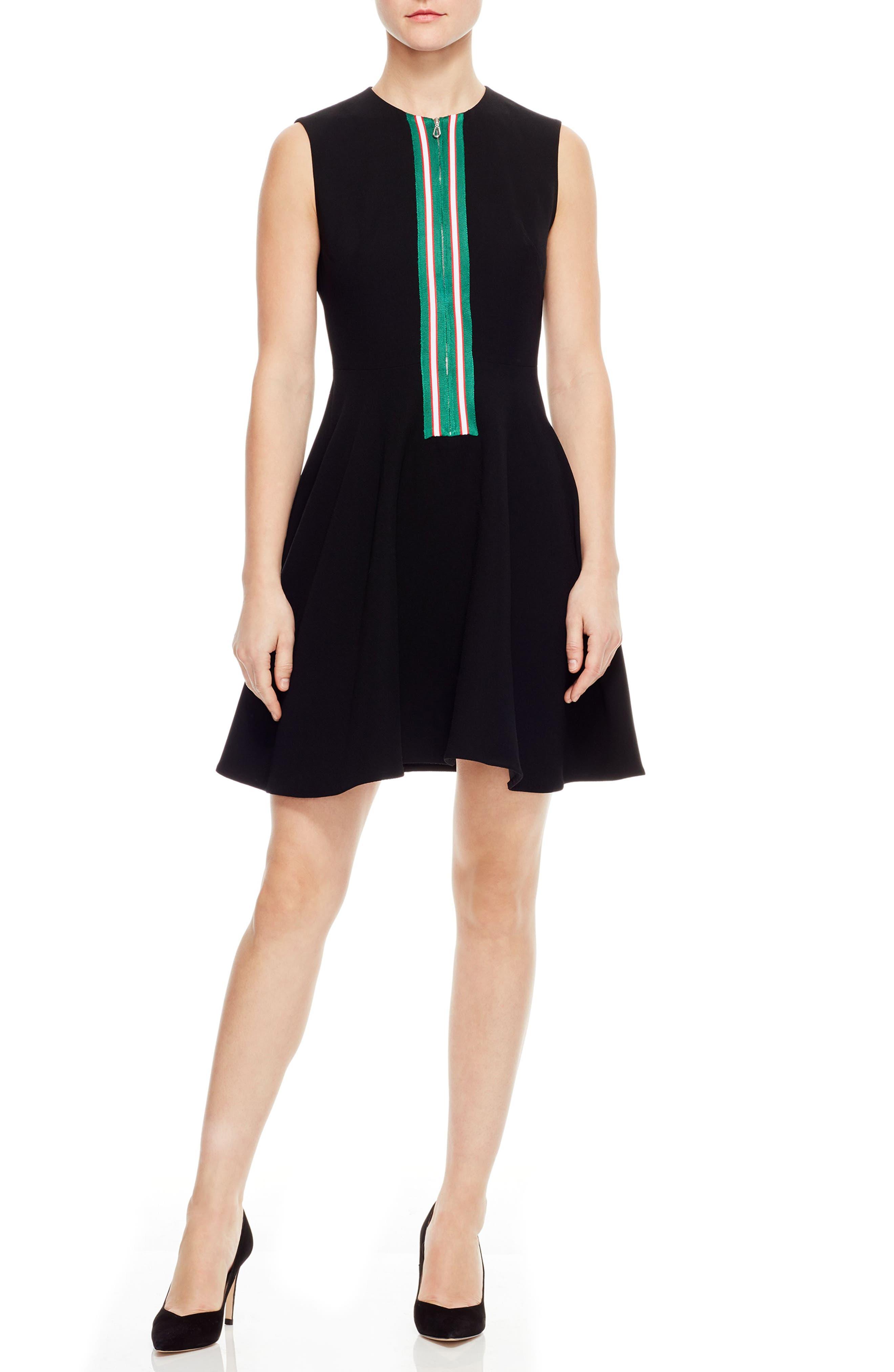 Sandro Ines Stripe Zip Detail Skater Dress, 6 FR - Black