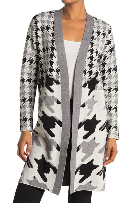 Image of JOSEPH A Open Front Houndstooth Print Maxi Cardigan