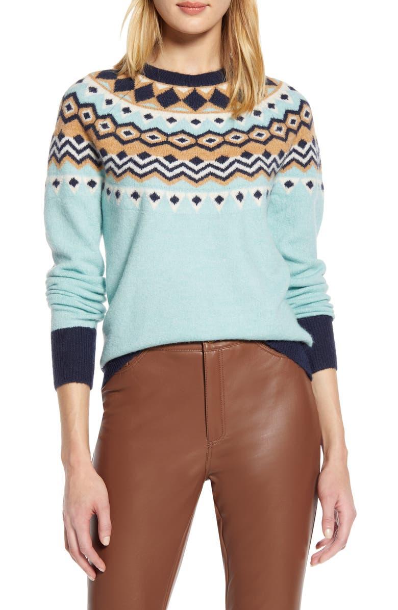 HALOGEN<SUP>®</SUP> x Atlantic-Pacific Fair Isle Sweater, Main, color, BLUE- NAVY FAIRISLE