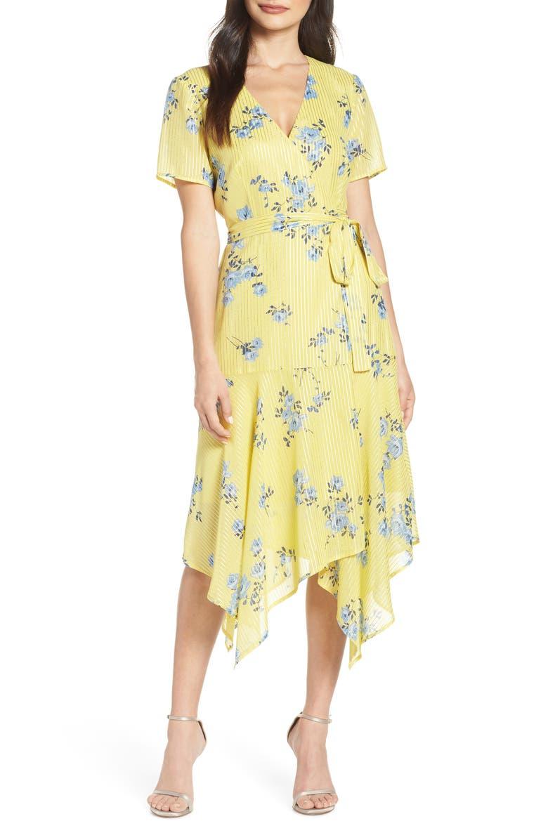 CHARLES HENRY Handkerchief Hem Wrap Dress, Main, color, 707