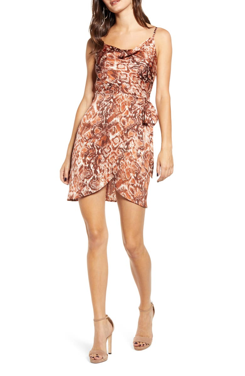 J.O.A. Cowl Neck Snakeskin Print Silk Dress, Main, color, RUST SNAKE