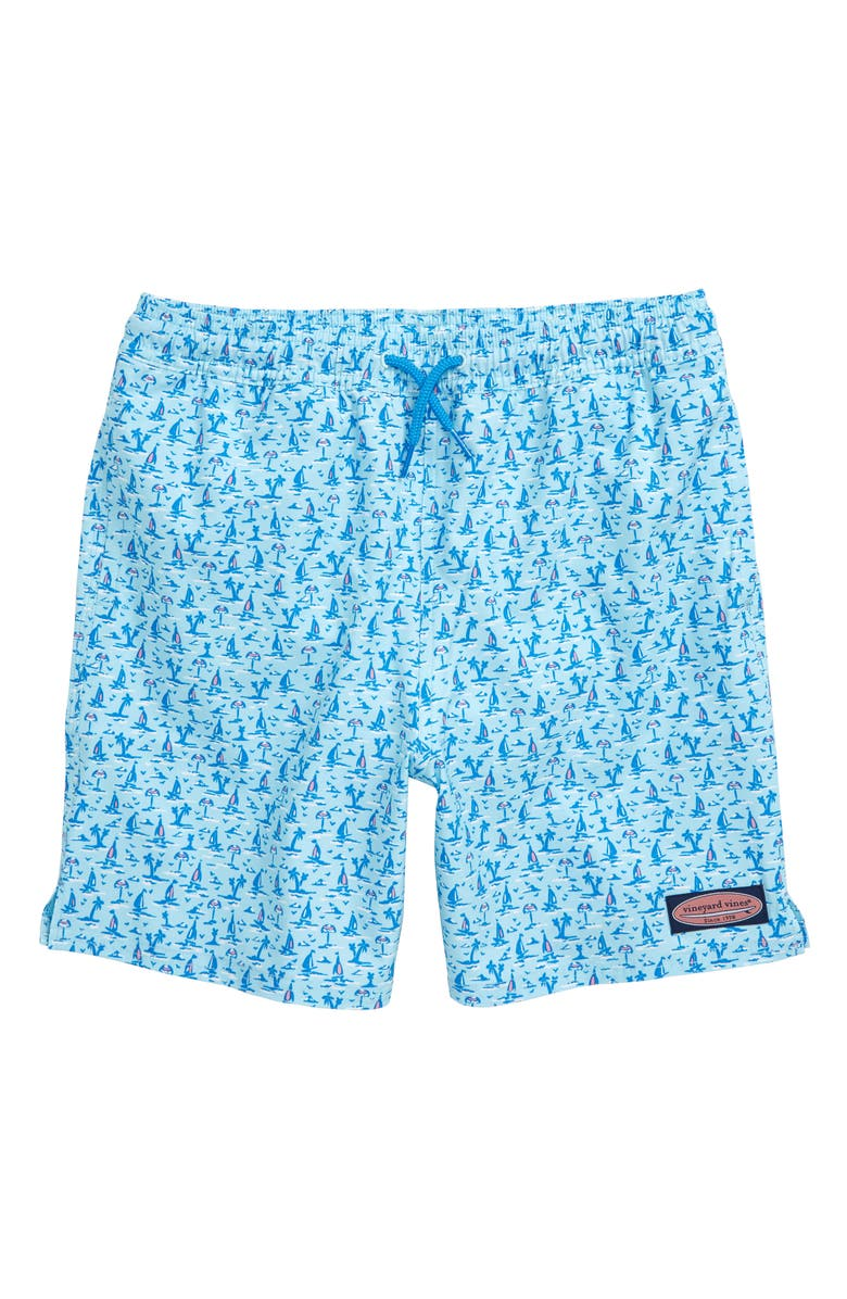 VINEYARD VINES Chappy Print Swim Trunks, Main, color, SEA SPLASH