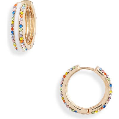 8 Other Reasons Frosted Multi Stone Hoop Earrings
