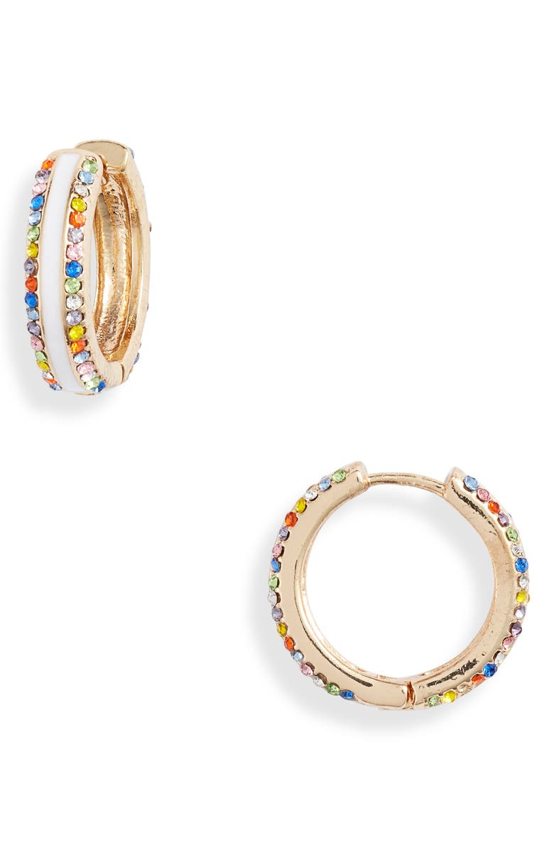 8 OTHER REASONS Frosted Multi Stone Hoop Earrings, Main, color, WHITE/ MULTI