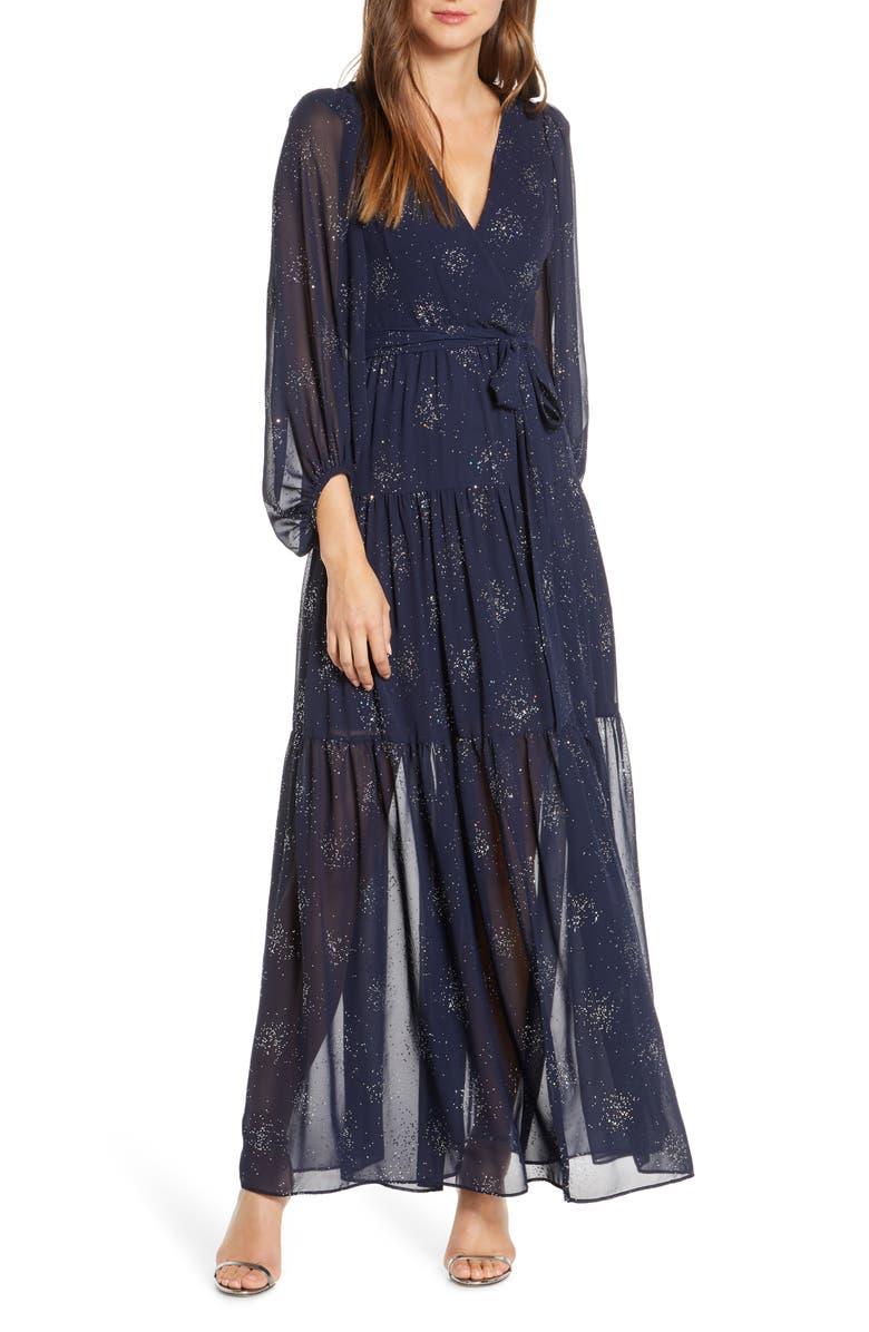 ELIZA J Long Sleeve Glitter Chiffon Maxi Dress, Main, color, NAVY