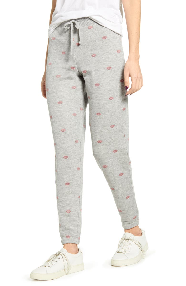 SPLENDID X & O Embroidered Jogger Sweatpants, Main, color, HEATHER GREY/ CLAY LIPS
