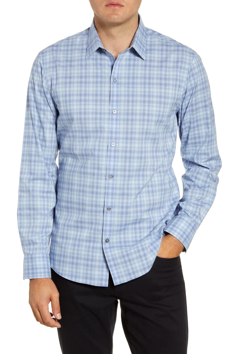 ZACHARY PRELL Saidai Regular Fit Check Button-Up Shirt, Main, color, BLUE