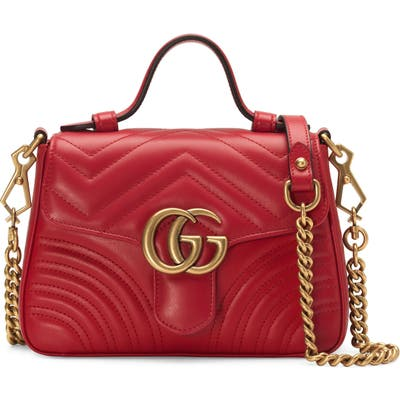 Gucci Leather Top Handle Bag - Red