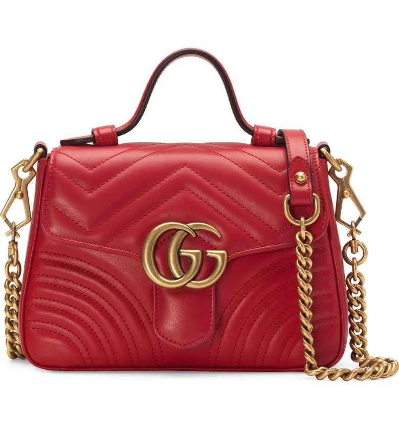 GUCCI Leather Top Handle Bag, Main, color, HIBISCUS RED