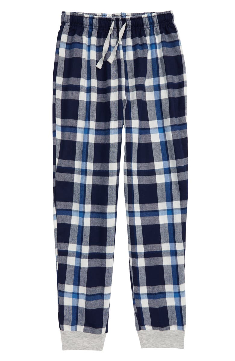 TUCKER + TATE Flannel Jogger Pants, Main, color, NAVY PEACOAT PLAID