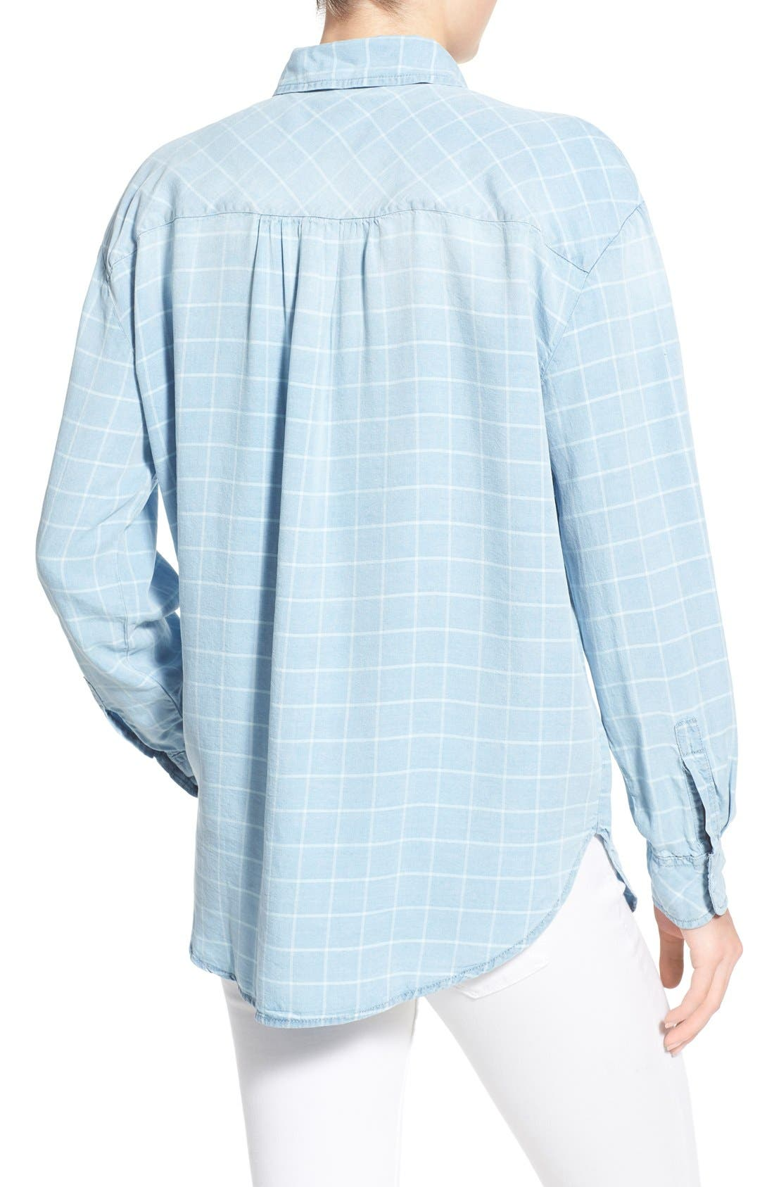 ,                             'Frankie' Check Chambray Button Front Shirt,                             Alternate thumbnail 2, color,                             400