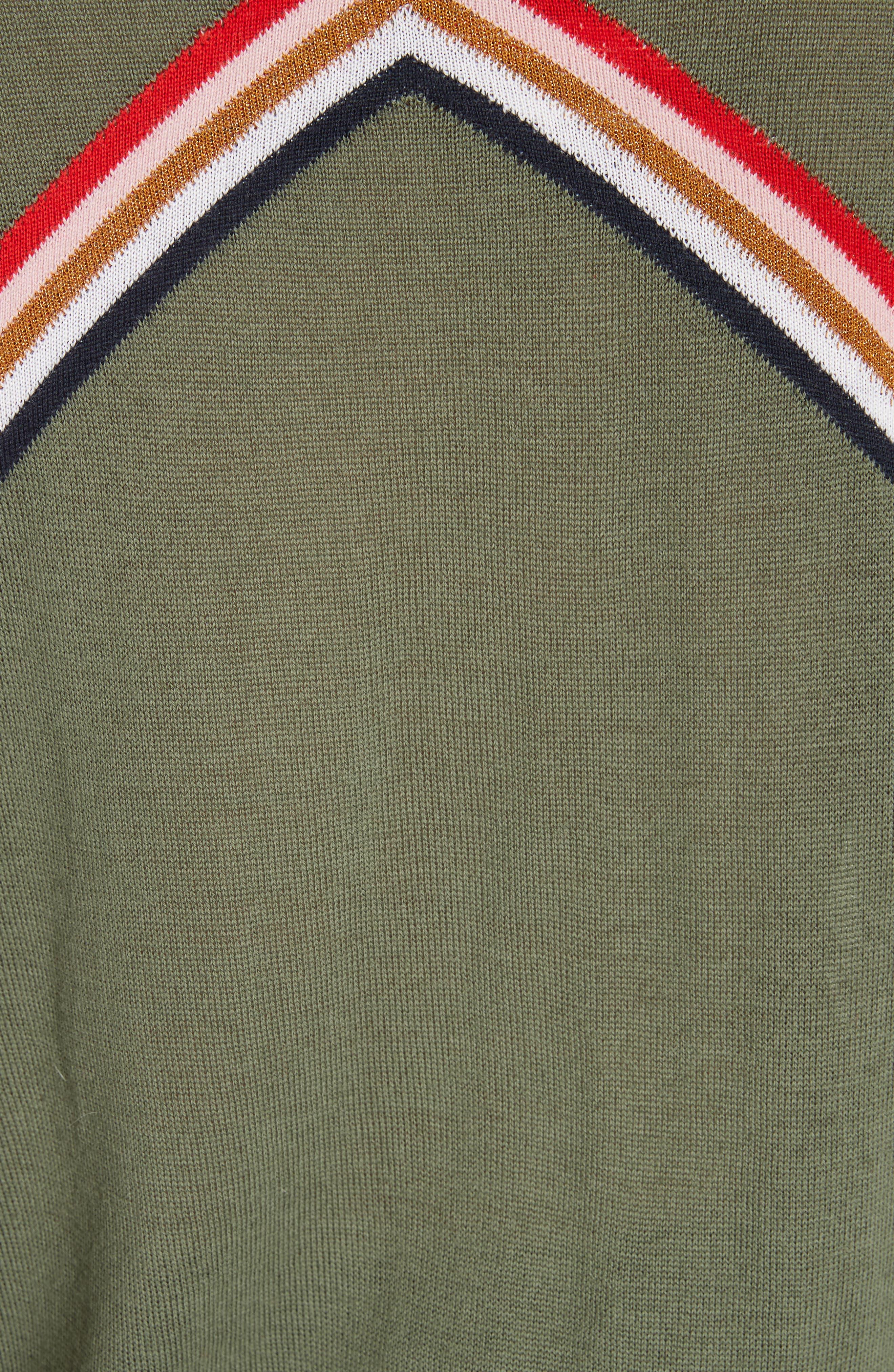 ,                             Chevron Stripe Sweater,                             Alternate thumbnail 5, color,                             KHAKI