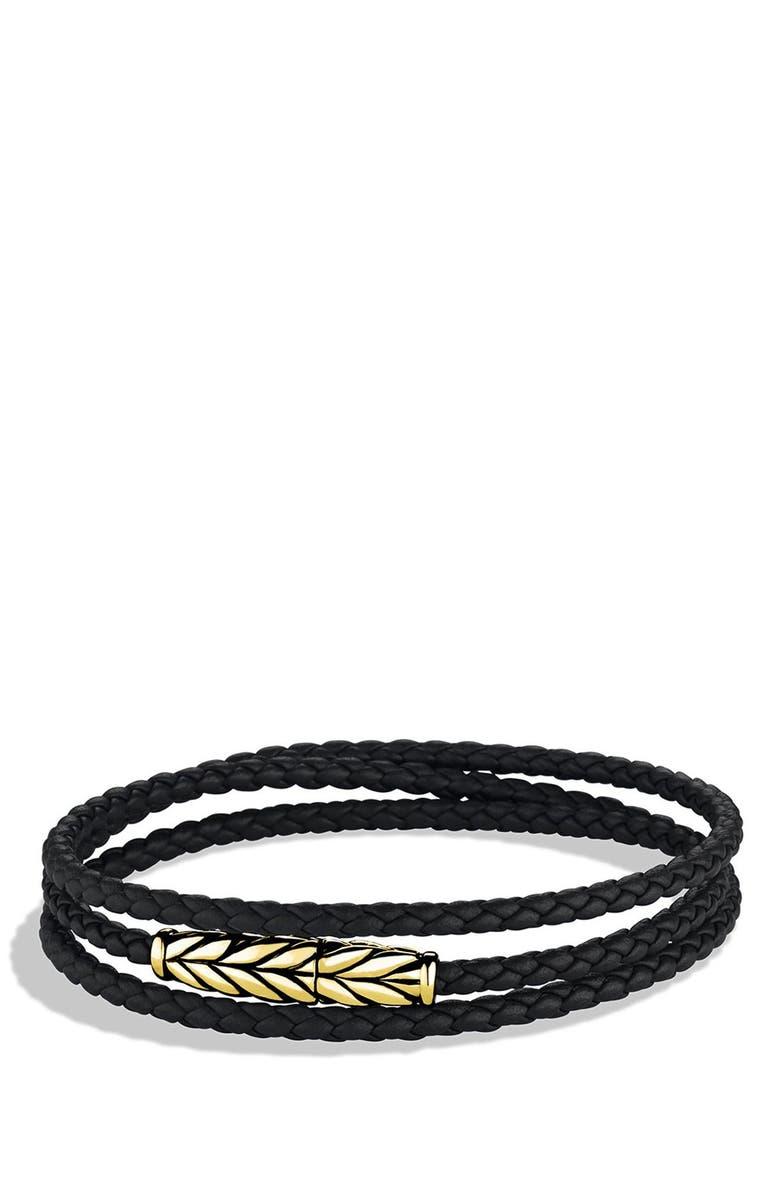 DAVID YURMAN 'Chevron' Triple-Wrap Bracelet in Black Leather and Gold, Main, color, BLACK LEATHER