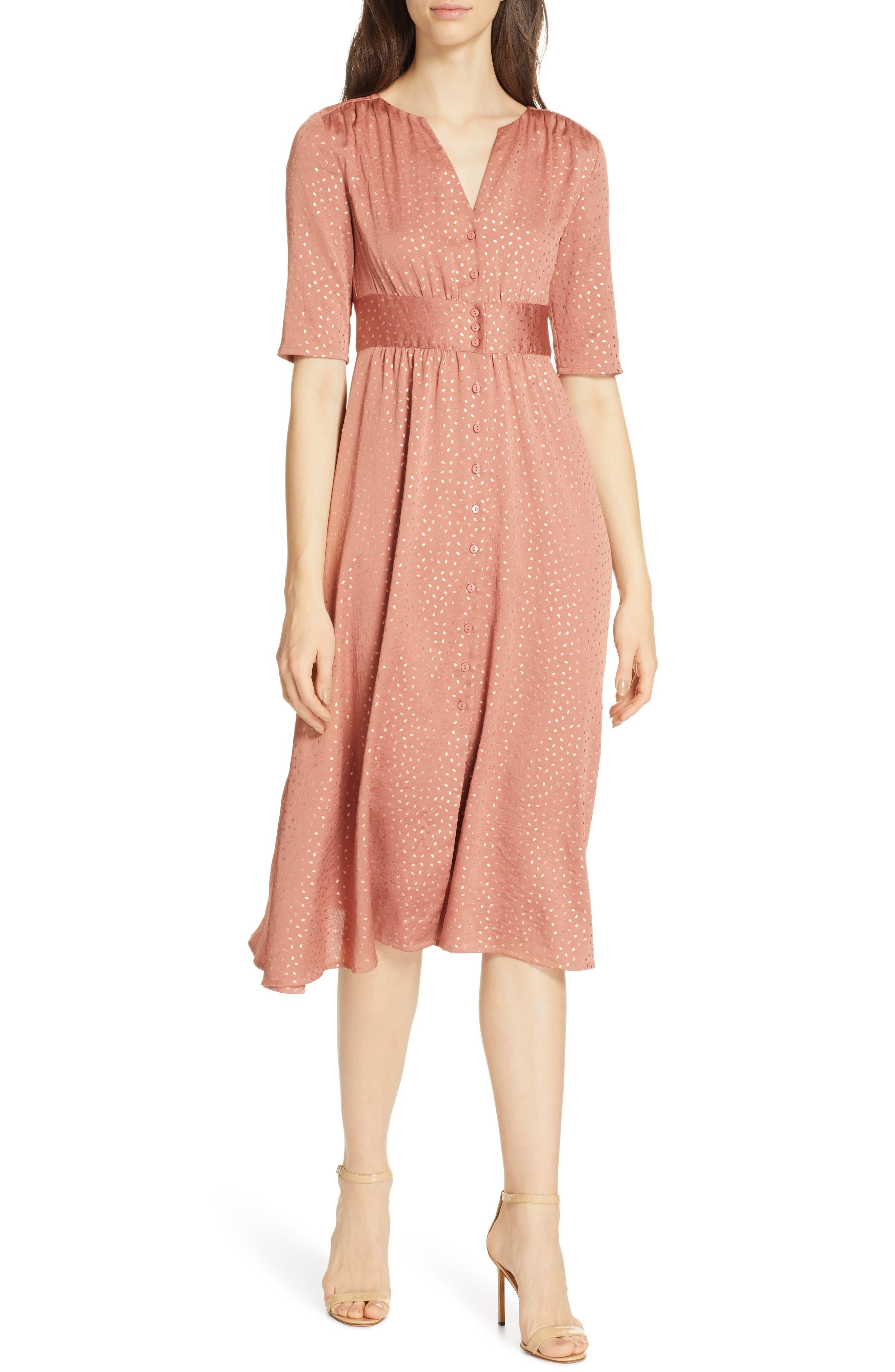 Ba & sh Gala Foil Print Midi Dress, Pink