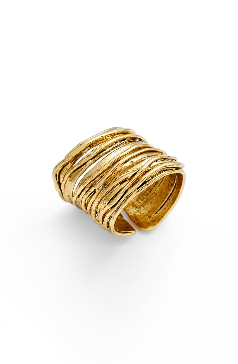 KARINE SULTAN Adjustable Band Ring, Main, color, GOLD
