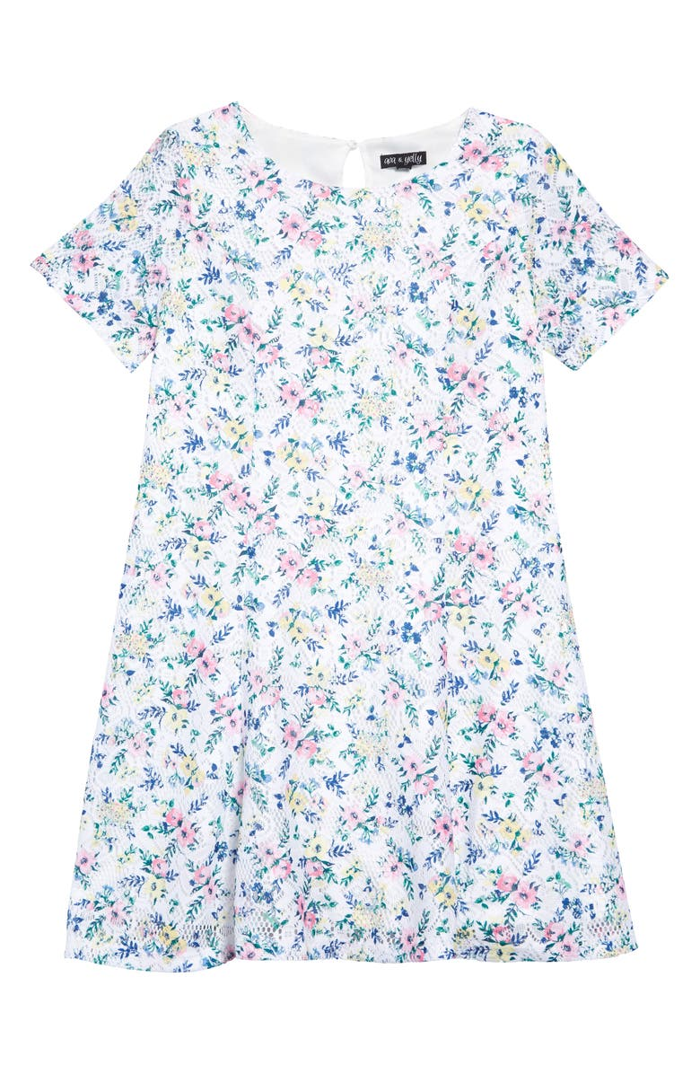 AVA & YELLY Floral Print Lace Skater Dress, Main, color, WHITE