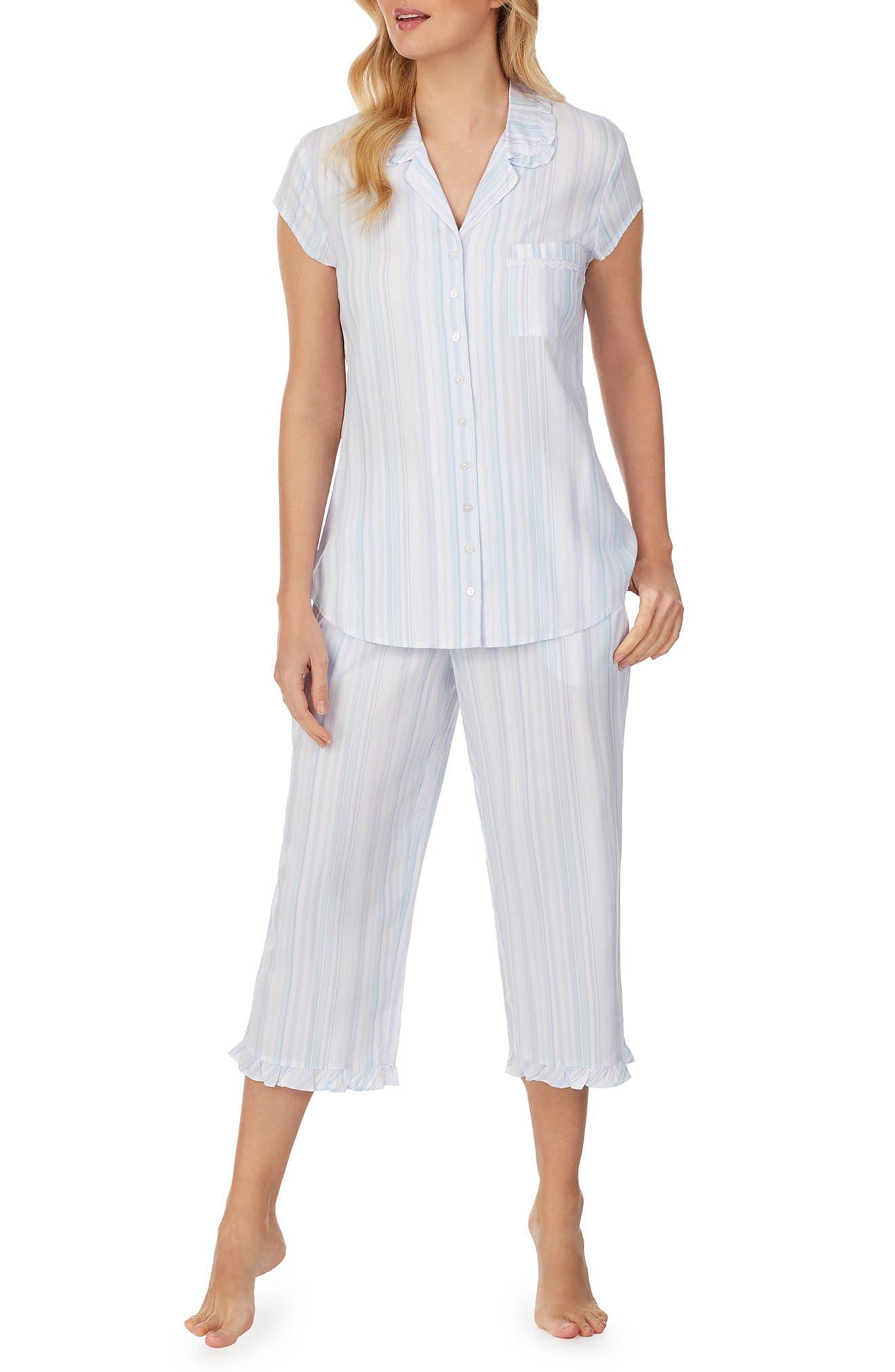 Stripe Short Sleeve Capri Pajamas