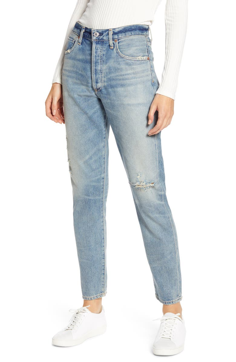 CITIZENS OF HUMANITY Liya High Waist Distressed Slim Jeans, Main, color, DESPERADO