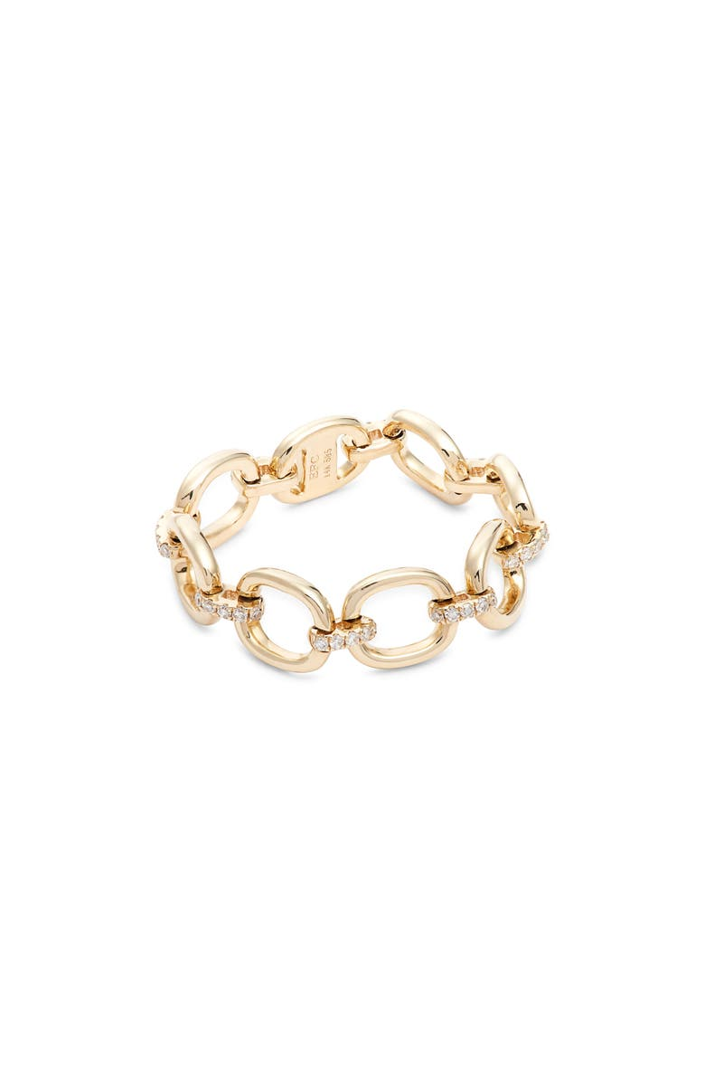 EF COLLECTION Diamond Chain Link Ring, Main, color, YELLOW GOLD