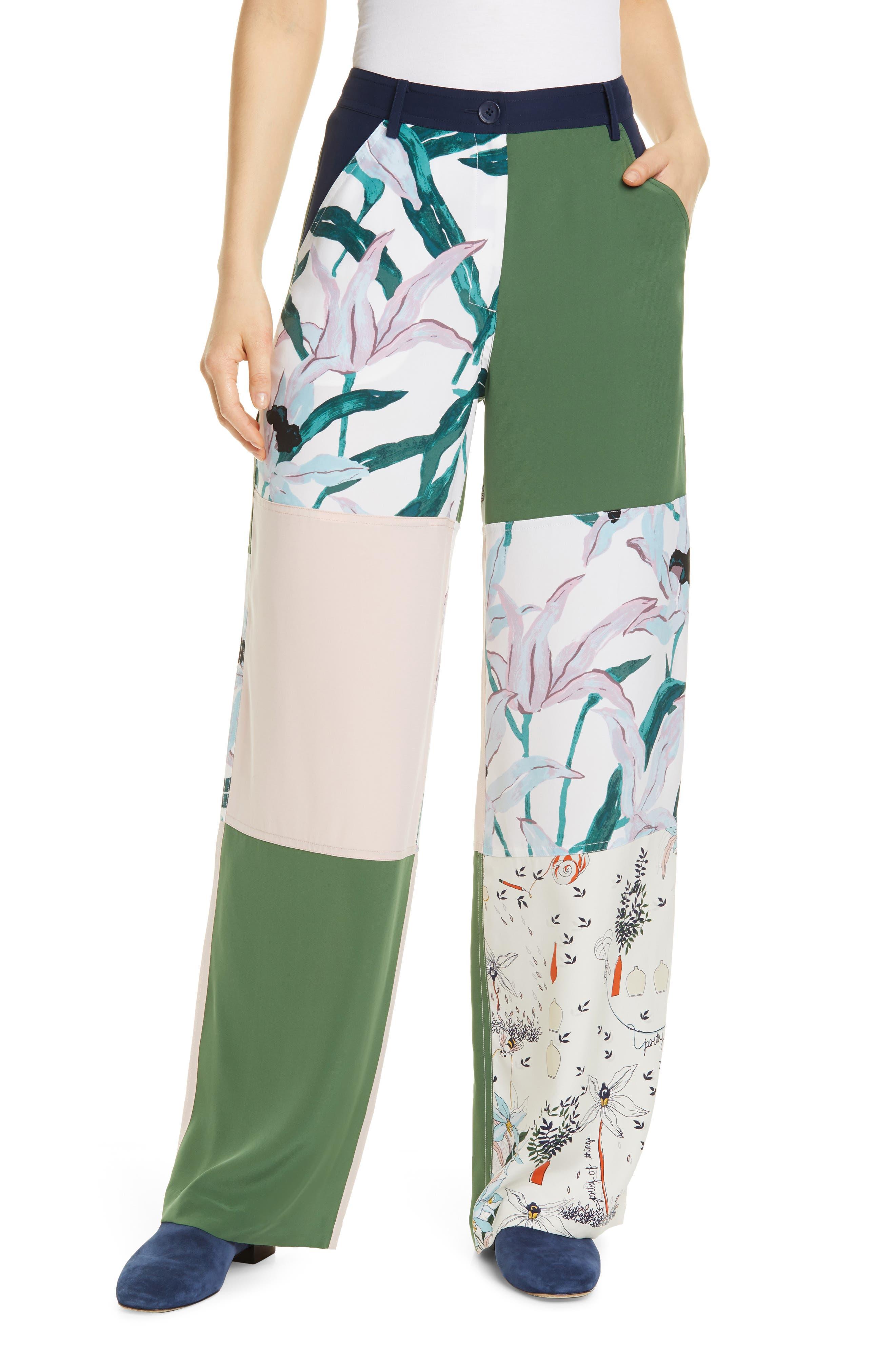 Tory Burch Patchwork Silk Cargo Pants, Green