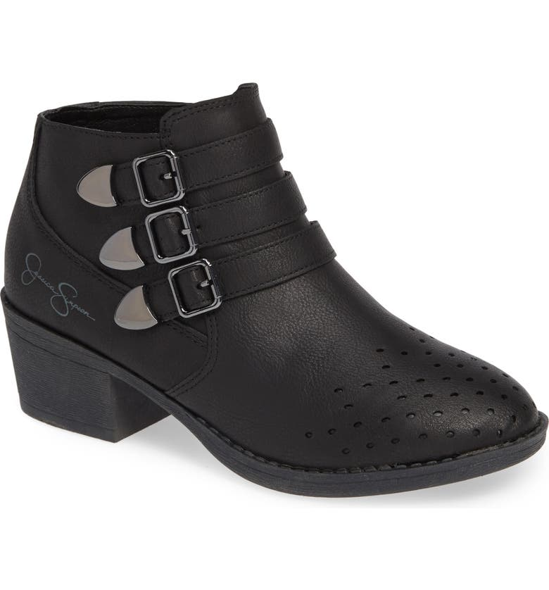 JESSICA SIMPSON Perforated Buckle Bootie, Main, color, 001