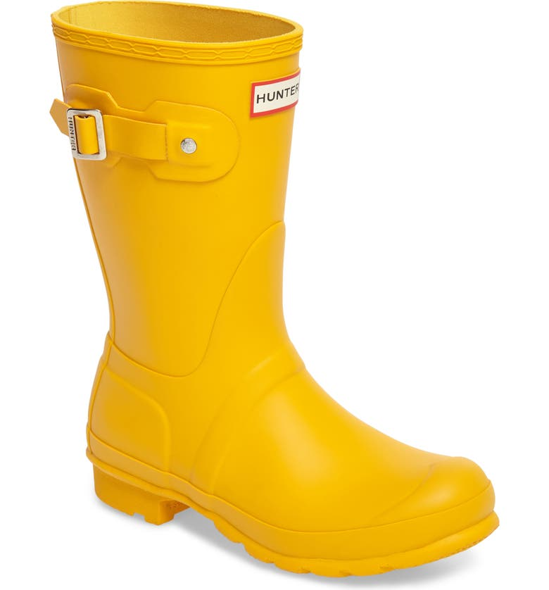HUNTER Original Short Waterproof Rain Boot, Main, color, YELLOW/ YELLOW