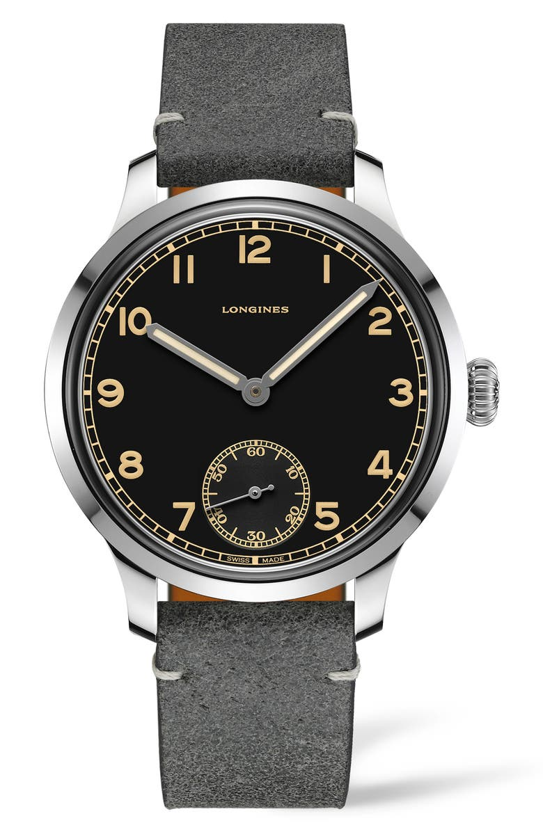 LONGINES Heritage Military Leather Strap Watch, 43mm, Main, color, 020