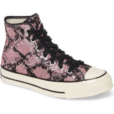 Converse Chuck Taylor All Star Sequin High Top Sneaker, Purple