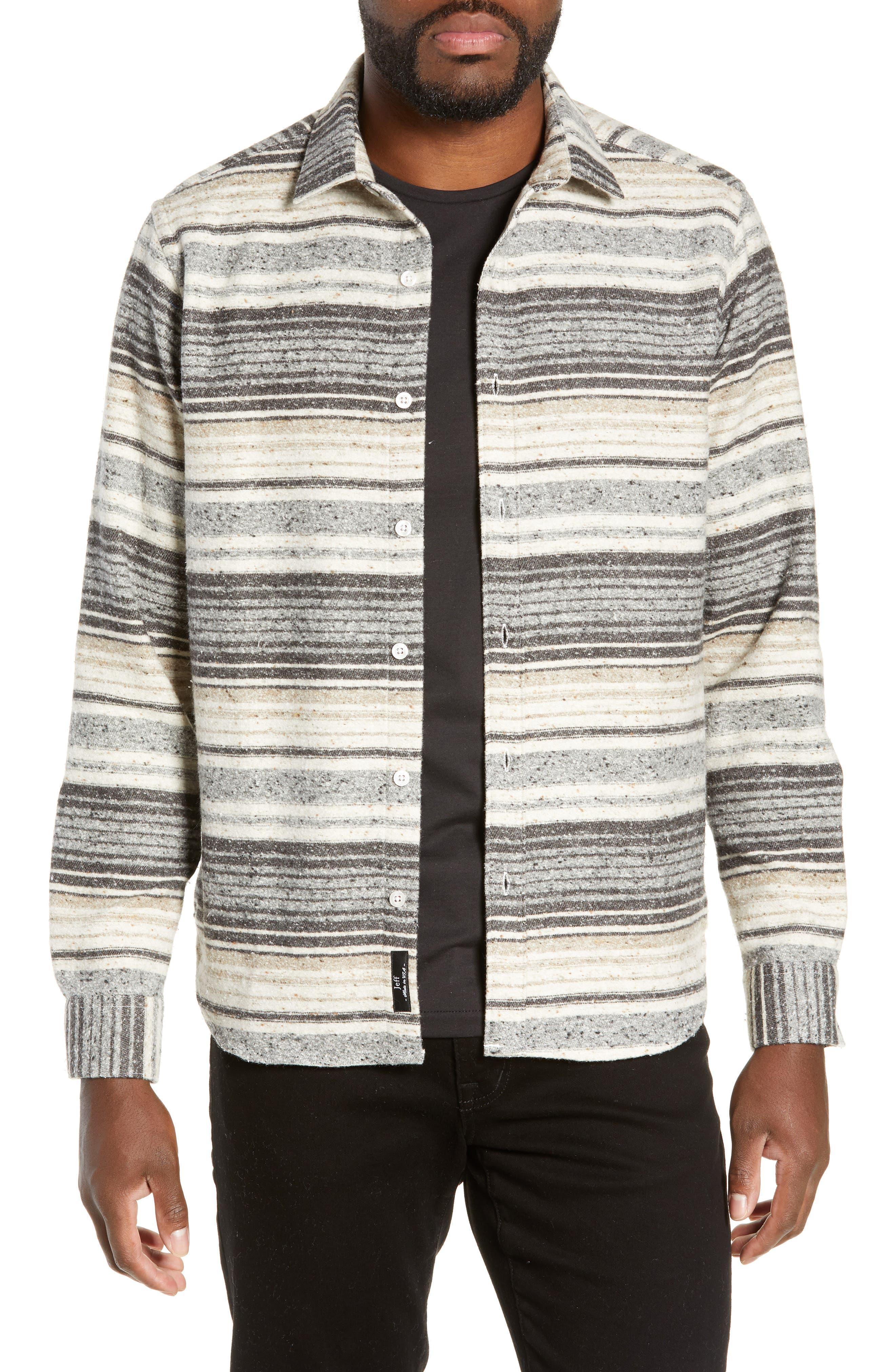 Jeff Benson Slim Fit Marl Stripe Sport Shirt, Grey