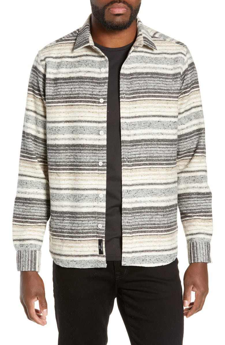 JEFF Benson Slim Fit Marl Stripe Shirt, Main, color, GREY