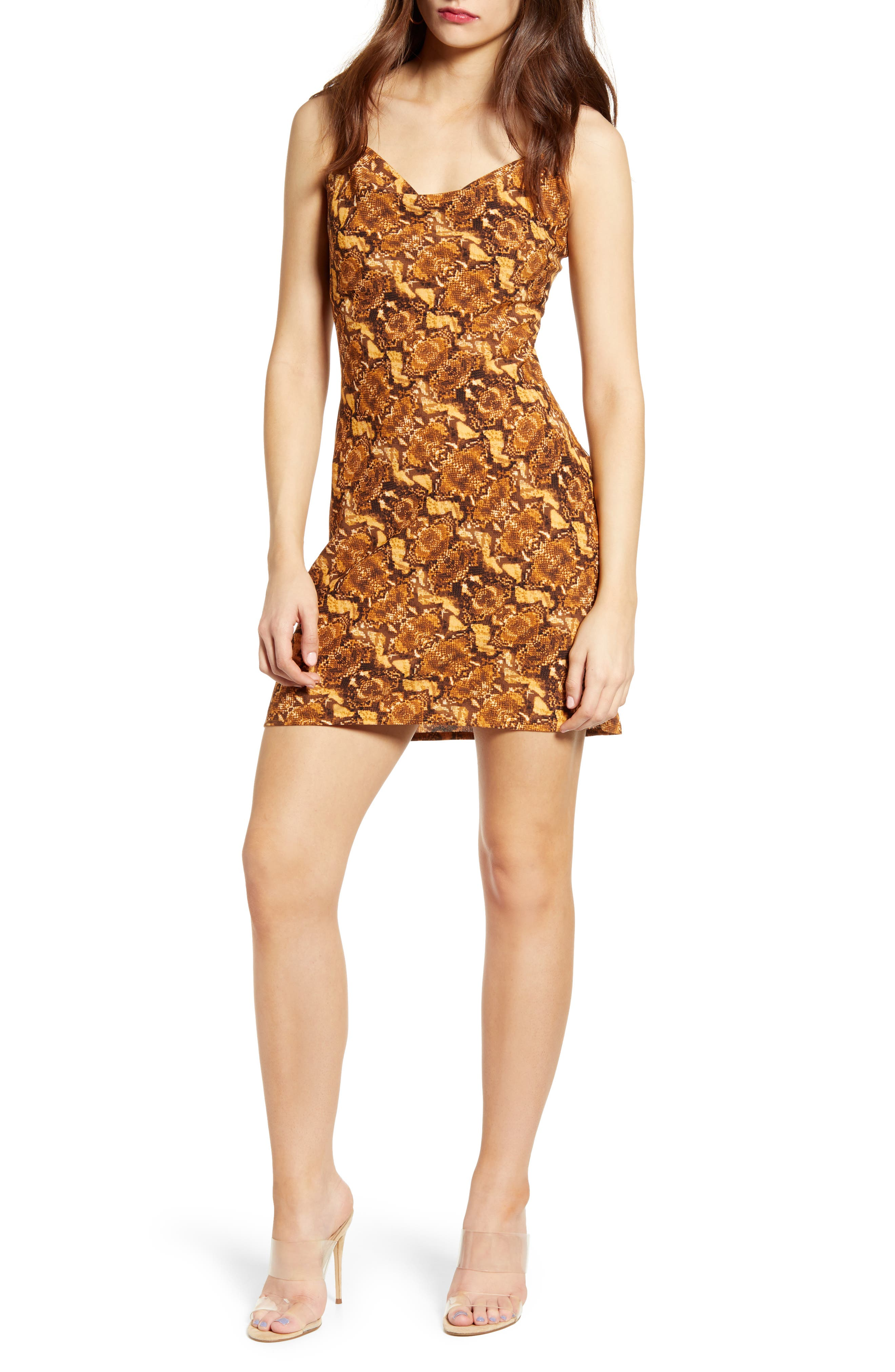 J.o.a. Python Print Cowl Neck Minidress, Brown