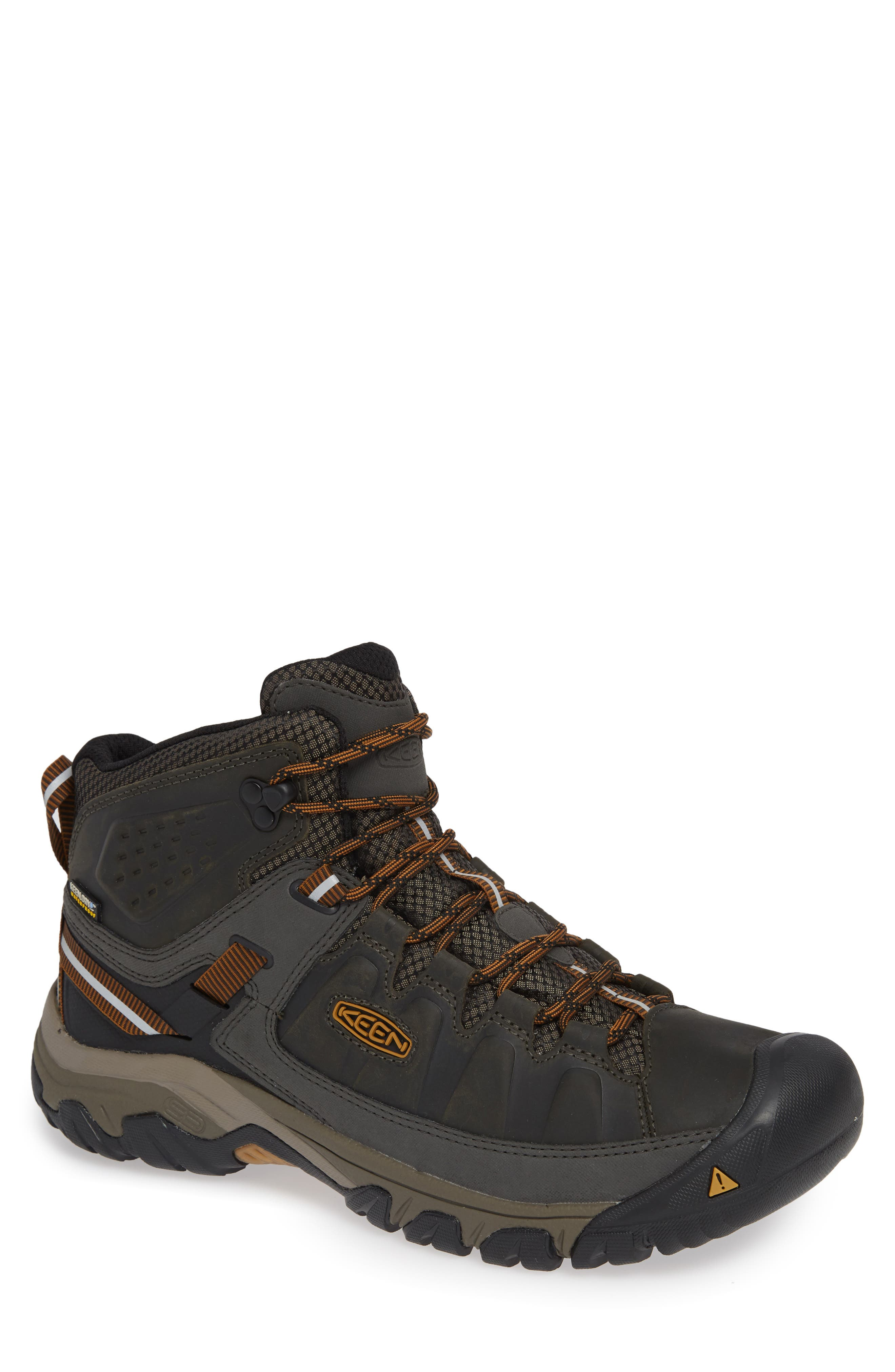 A durable lace-up hiking boot offers excellent traction and features a waterproof KEEN. Dry lining to keep feet free from uncomfortable moisture. A metatomical footbed offers superior cushioning and arch support, while the high-traction rubber sole provides multi-directional grip and stability in any terrain. Style Name: Keen Targhee Iii Mid Waterproof Hiking Boot (Men). Style Number: 5697989. Available in stores.