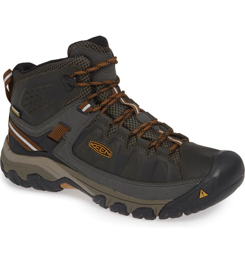 KEEN Targhee III Mid Waterproof Hiking Boot, Main, color, BLACK OLIVE/GOLDEN BROWN