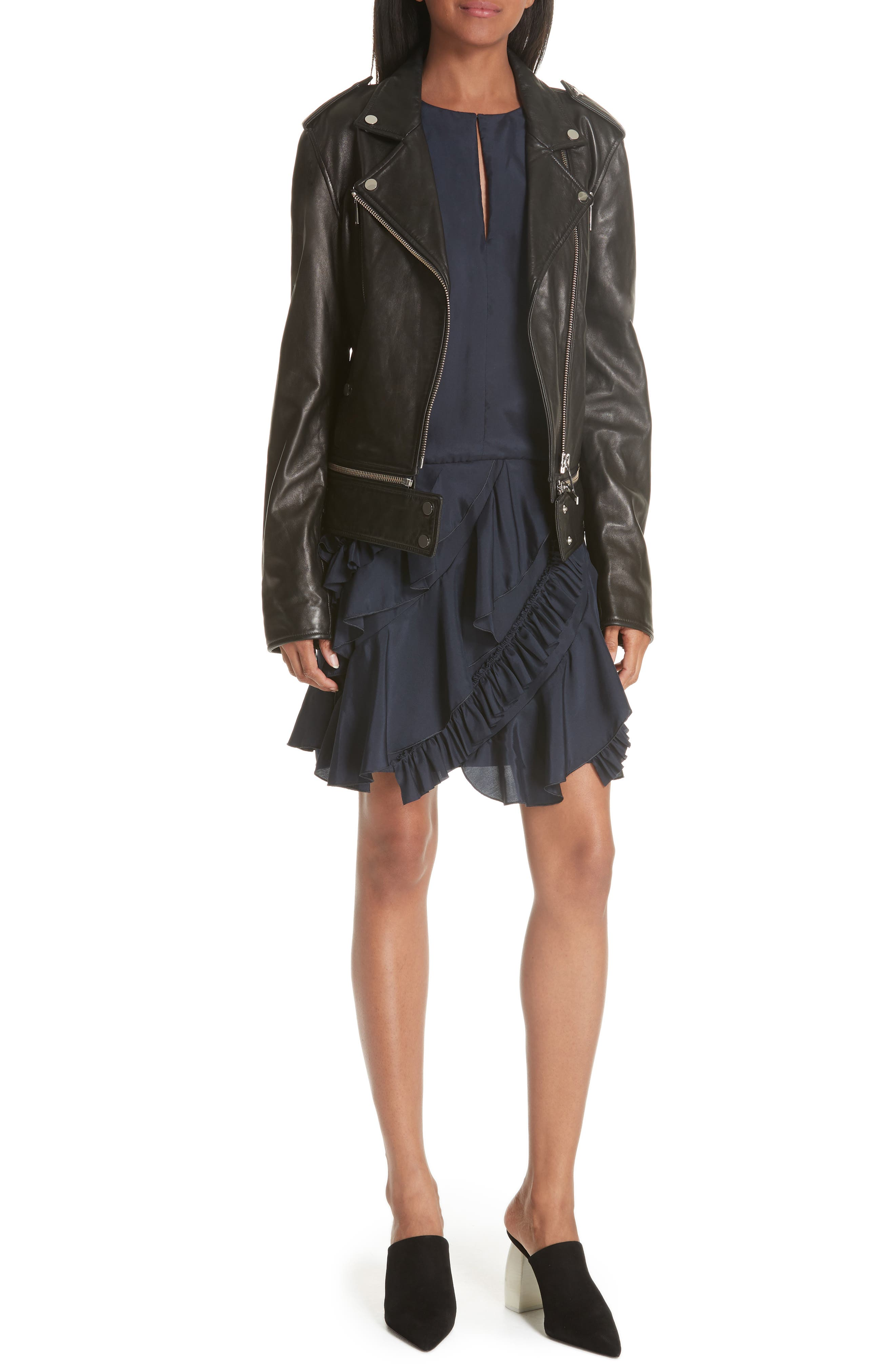 Lambskin Leather Jacket, Main, color, BLACK