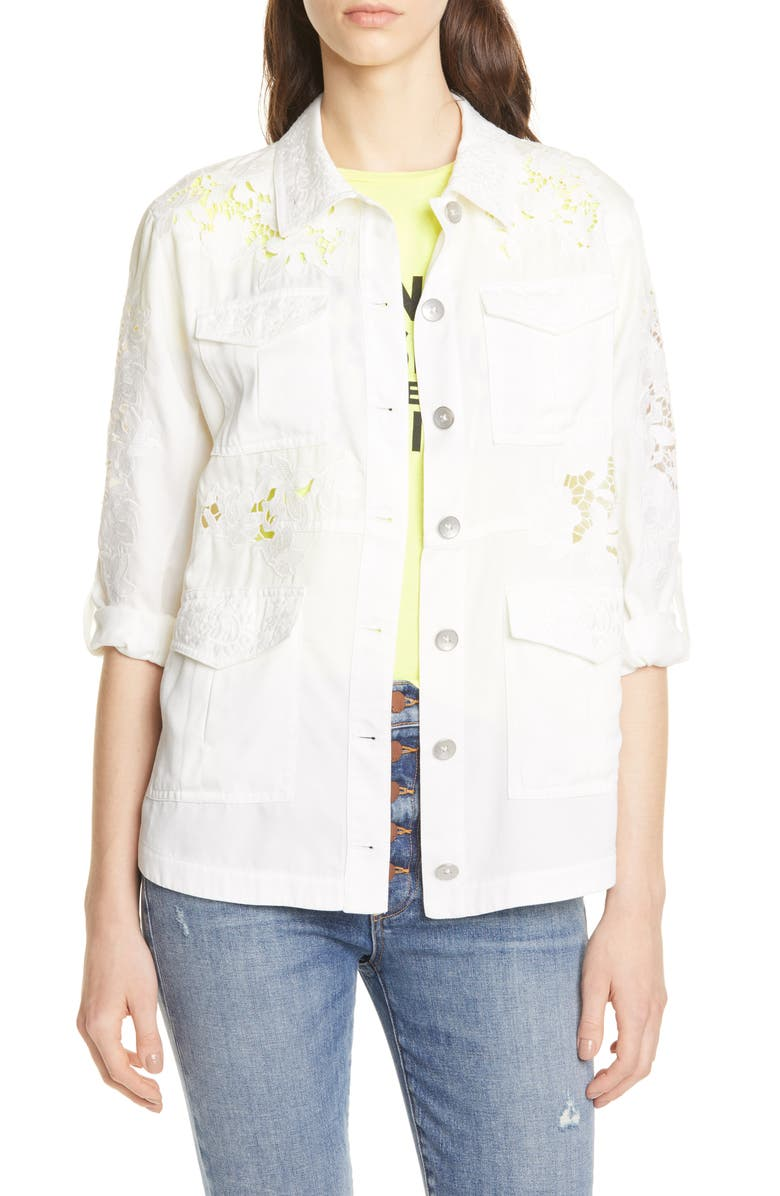ALICE + OLIVIA Charline Embroidered Military Jacket, Main, color, 127