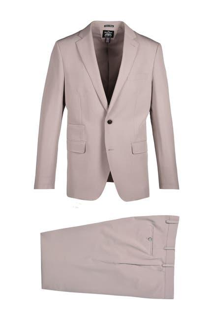 Image of SAVILE ROW CO Tan Notch Lapel Slim Fit Stretch Fabric Suit