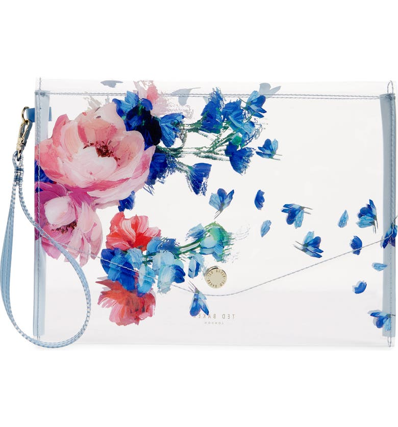 TED BAKER LONDON Raspberry Ripple Clear Envelope Pouch, Main, color, CLEAR